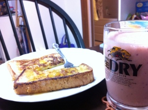 Two facts for you: Japanese bread is the BEST for making French Toast.... And smoothies, yeah, they taste better from Japanese beer mugs.